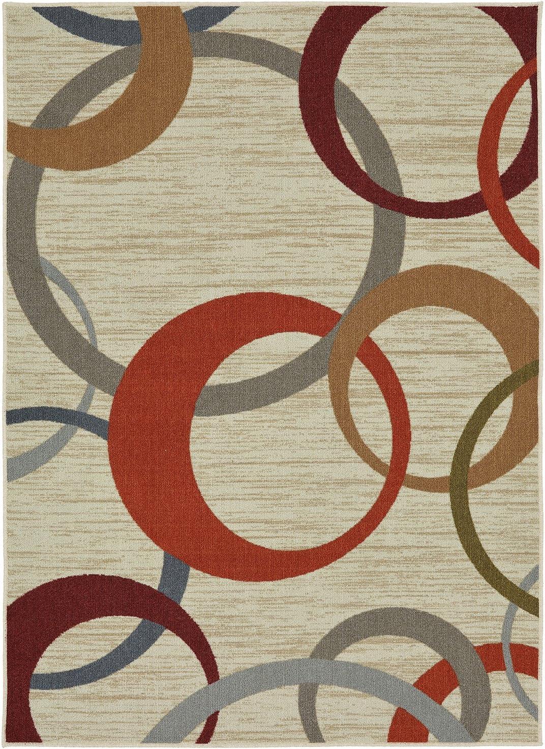 Mohawk Home Soho Picturale Rainbow Geometric Printed Area Rug, 5'x7', Tan