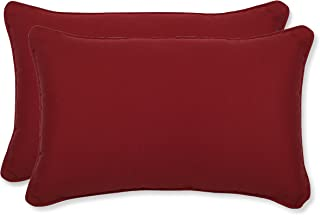 Pillow Perfect Decorative Red Solid Toss Pillows, Rectangle, 2-Pack