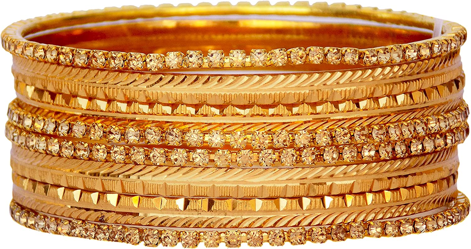 JD'Z COLLECTION Indian Gold Plated Bangles Set CZ Stone Bangles Jewelry for Women Ethnic Fashion Jewelry
