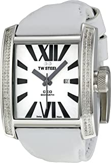 TW Steel - CE3015W - Reloj analógico de Cuarzo Unisex con Correa de Piel, Color Blanco