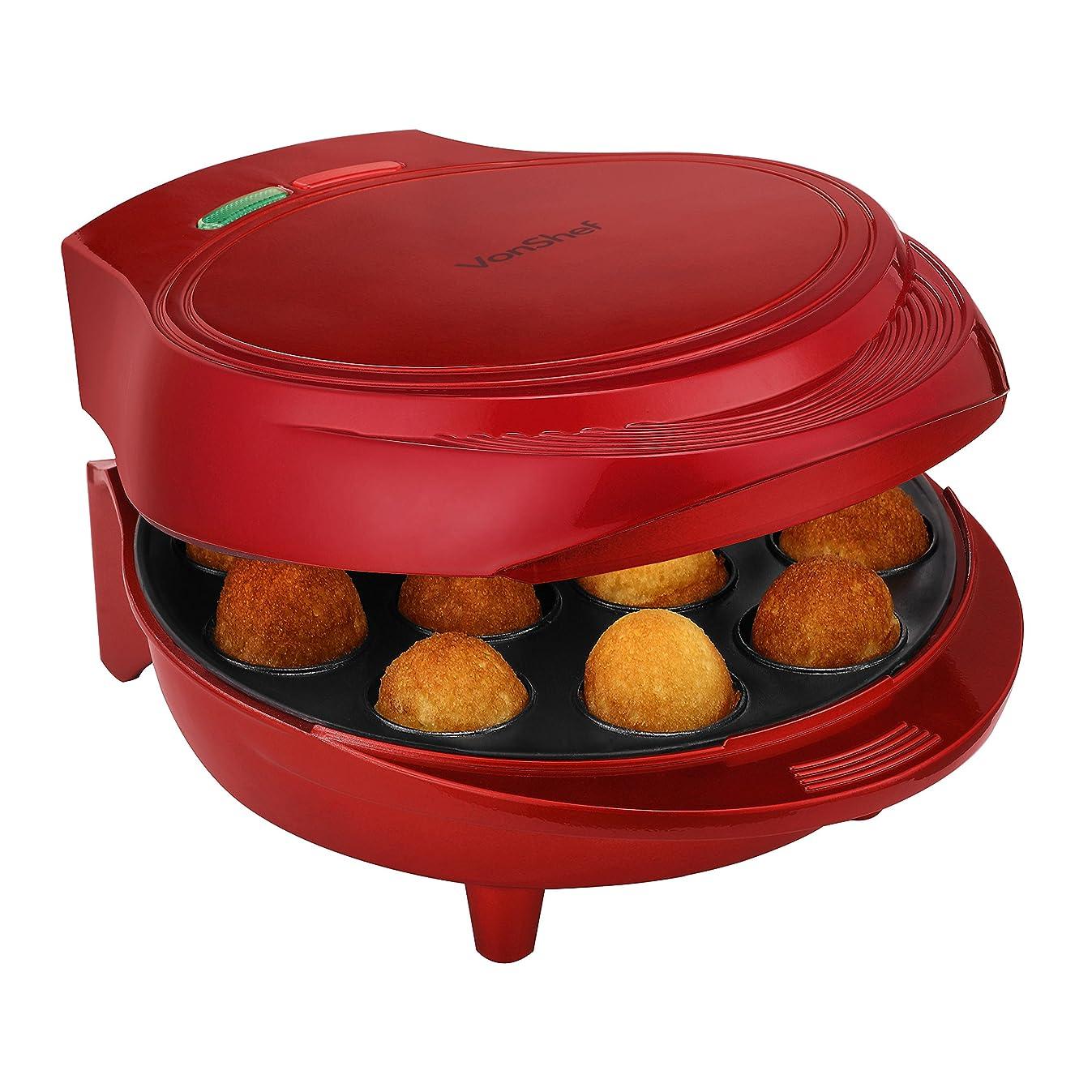 VonShef 12 Cake Pop Maker Machine Set Includes Sticks & Stand - Red