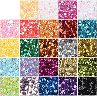 CCINEE Loose Sequins,Bulk 24 Assorted Color Rainbow Round Cup Sequins for Sewing Craft Nails Decorations,16000PCS,6MM