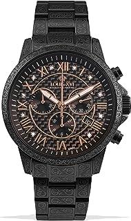 LOUIS XVI - Palais Royale 1020 - Reloj de pulsera para hombre con correa de acero negro al carbono, diamantes auténticos, números romanos, cronógrafo, analógico, cuarzo, acero inoxidable