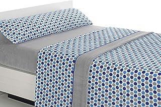 SABANALIA - Juego de sábanas de coralina Happy - Gris-Azul