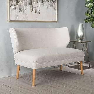 Christopher Knight Home Dumont Mid Century Modern Fabric Loveseat Sofa Settee (Beige)
