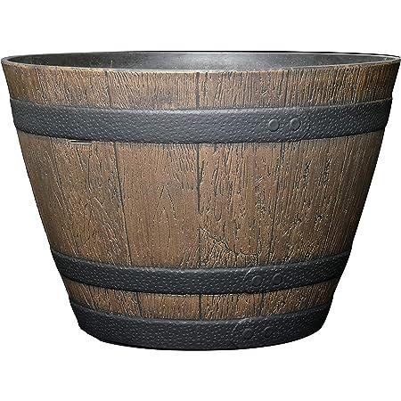 Amazon Com Classic Home And Garden 72d 037r Whiskey Barrel Planter 15 Kentucky Walnut Garden Outdoor