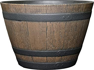 "Classic Home and Garden 72D-037R Whiskey Barrel Planter, 15"", Kentucky Walnut"