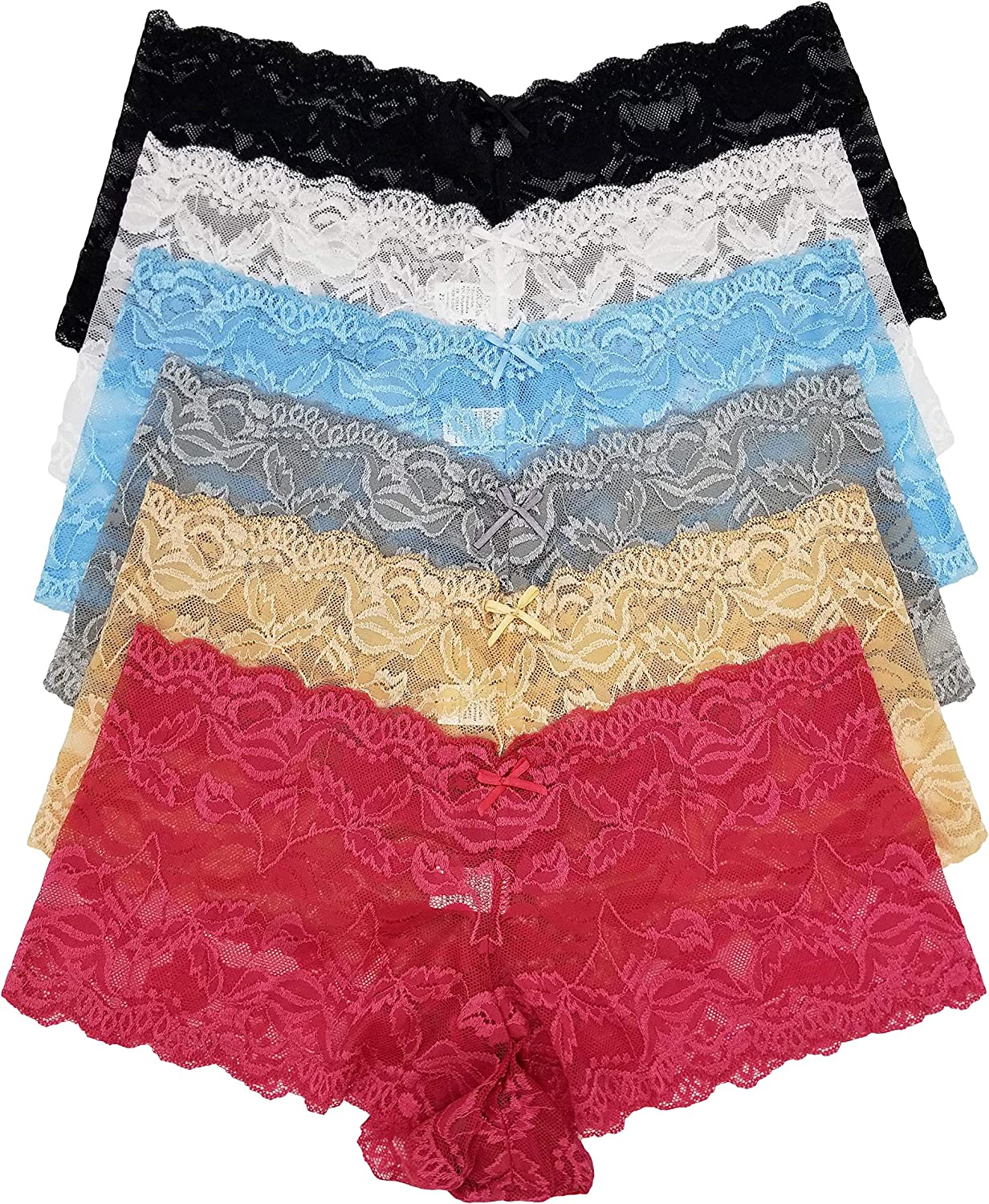 Vision Intimates 6 Pack of Sheer Floral Lace Boy Shorts Panties Plus Size 896P