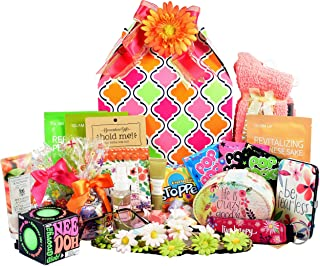 Gift Basket Village The Groovy Glam Box - Help Her Get Her Groove on with Colorful Gifts and Sweet Treats