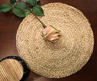 The Home Talk® Set of 2 Braided Jute Placemats, 35 cm Round, 2 Piece Set, Best for Bed-Side Table/Center Table, Dining Table/Shelves, Natural Beige (2 Piece)