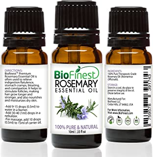 Biofinest Rosemary Essential Oil - 100% Pure Undiluted - Therapeutic Grade - Australia Quality - Best For Aromatherapy, Aches & Pains, Hair & Dandruff - Free Glass Dropper (10Ml)