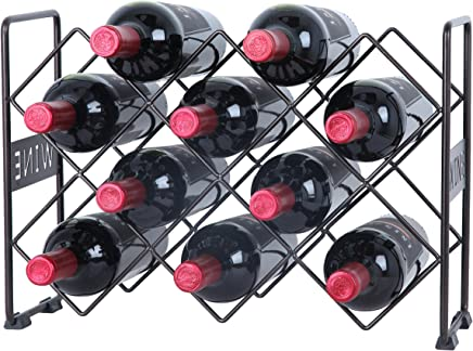 Finnhomy 10 Bottle Wine Rack with Wine Pattern,  Wine Bottle Holder Free Standing Wine Storage Rack,  2-Way Storage Original Design,  Iron,  Brozen