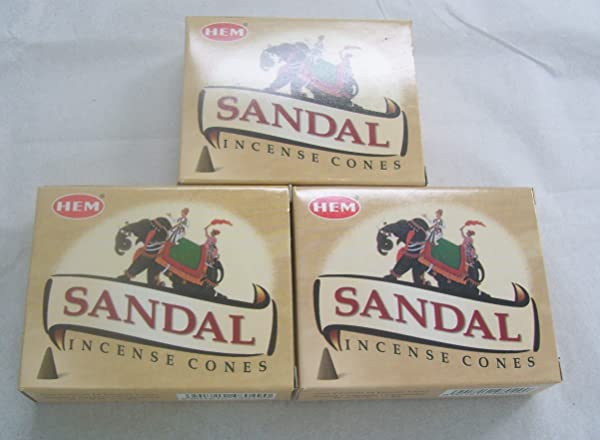 Hem Sandal Incense Cones 3 Packs Of 10 Cones 30 Cones