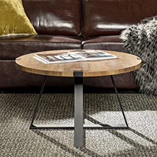 WE Furniture Rustic Farmhouse Round Metal Coffee Accent Table Living Room, 30 Inch, Brown Reclaimed Barnwood, Black