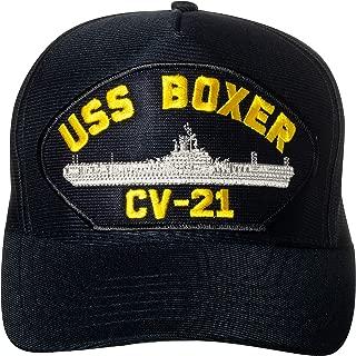 United States Navy USS Boxer CV-21 Aircraft Carrier Ship Emblem Patch Hat Navy Blue Baseball Cap