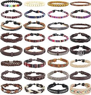 10-32 Pcs Braided Leather Bracelets for Men Women Cool Wrist Cuff Bracelet Adjustable …