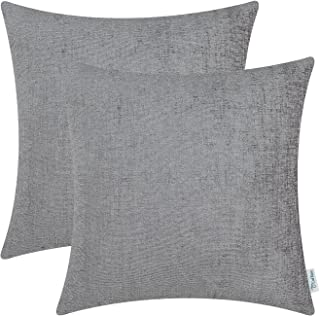 Best CaliTime Pack of 2 Cozy Throw Pillow Covers Cases for Couch Sofa Home Decoration Solid Dyed Soft Chenille 18 X 18 Inches Medium Grey Review