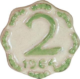 Via Kerala Handmade Ceramic Vintage 2 Pasia Coin (Cream) 1 Piece