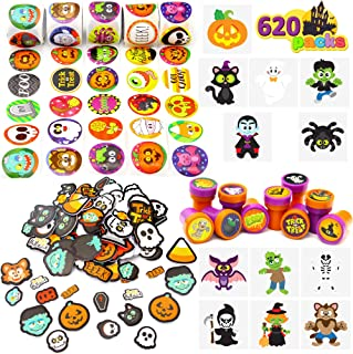 600+ Halloween Craft Assortment Kit Including Temporary Tattoos, Stickers, Stampers Foam Stickers for Trick or Treat Craft...