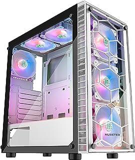 MUSETEX Computer Case 6pcs 120mm ARGB Fans and USB 3.0...