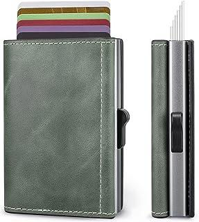 Itslife Minimalist Wallet for Men,Pop up Card Holder for Women with Genuine Leather Cover, Slim Front Pocket Wallets Rfid ...