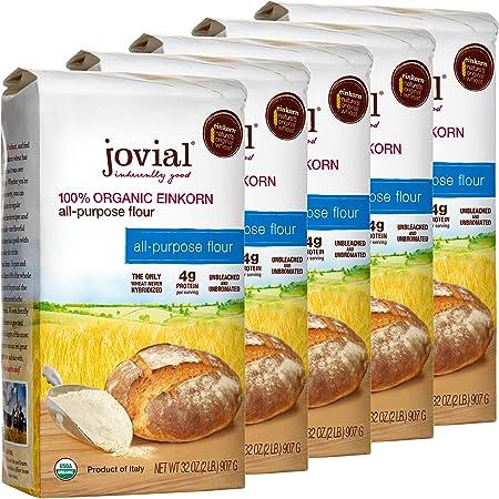 Jovial Einkorn Baking Flour   100% Organic Einkorn All Purpose Flour   High Protein   Non-GMO   USDA Certified Organic   Delicious Taste   Product of Italy   32 oz (5 Pack)