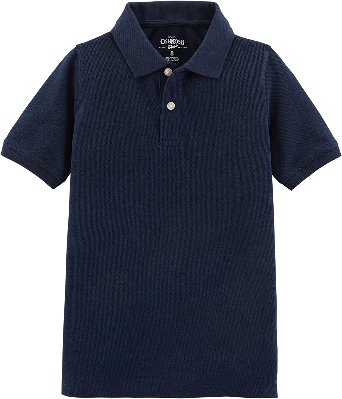 Osh Kosh Boys' Short Sleeve Uniform Polo, Dark Navy, 8