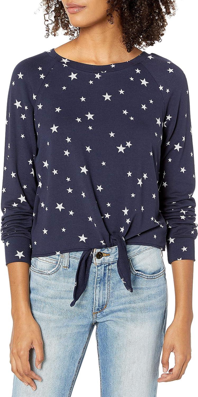 BB DAKOTA Women's Star is Born Printed French Terry Tie Front Sweatshirt