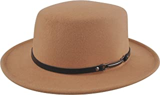EINSKEY Women Felt Fedora Hat, Wide Brim Panama Hat with Belt Buckle Trilby Hat
