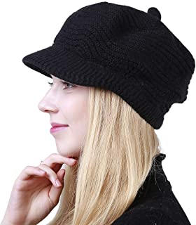 Women's Winter Warm Slouchy Cable Knit Beanie Skull Hat with Visor