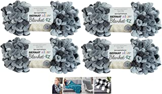 Bernat Alize EZ Blanket Yarn Bundle 100% Polyester 4 -Pack Slate Grays Plus 4 Patterns
