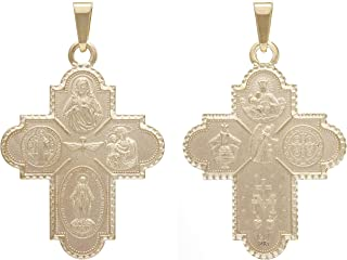 14K Solid Yellow Gold Four Way Cross Medallion Pendant