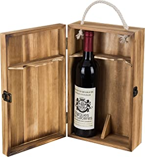 MyGift Dark Torched Wood Double Bottle Wine Case, Top Handle Hinged Lid Carrier, Brown