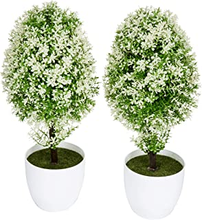 MyGift Set of 2 Small Artificial Topiary Trees, Faux Tabletop Greenery in White Planter Pots