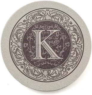 Thirstystone Absorbent Monogram Sandstone Coaster Set, Letter K