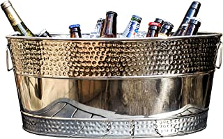 BREKX Aspen Hammered Stainless Steel Beverage Tub & Party Drink Chiller - 25 Quarts - Mirror-Silver