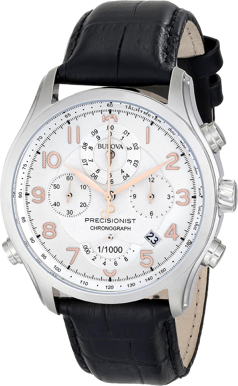 Bulova 96B182 - Reloj de Cuarzo para Hombre, Correa de Cuero Color Plateado