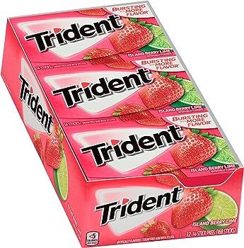 12 Packs Trident Island Berry Lime Sugar Free Gum