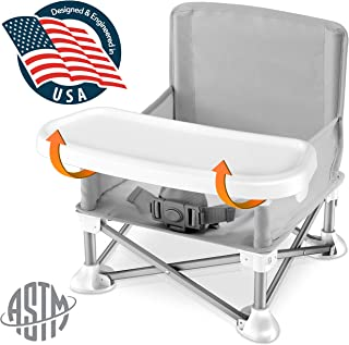 Baby Seat Booster High Chair - Portable Toddler Booster Seat -Lightweight Easy Travel Pop-n-Sit Folding Booster Feeding Chair w/ Aluminum frame, Safety Belt for Camping/Beach/Lawn Weatherproof SLBS66
