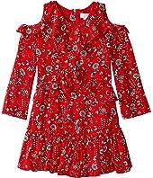 Printed Crepe Ruffle Dress (Big Kids)