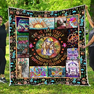 VTH Global Hippie Girls Quilt Blankets Comforters with Reversible Cotton King Queen Full Twin Size Christmas Birthday Mandala Bohemian Boho Sign Symbol Gifts for Women Kids Teens Daughter Mom