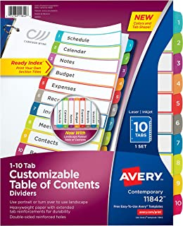 Avery 10-Tab Dividers for 3 Ring Binders, Customizable Table of Contents, Multicolor Tabs, 1 Set (11842)