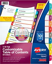 Avery 10-Tab Binder Dividers, Customizable Table of Contents, Contemporary Multicolor Tabs, 1 Set (11842)