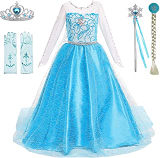 Snow Queen Princess Elsa Anna Costumes Birthday Party Halloween Costume Cosplay Dress up for Little Girls 3-12 Years