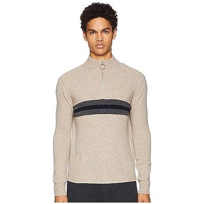 eleventy Sponge Wool 1/2 Zip Stripe Sweater (Sand) Men