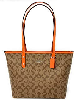 Coach Womens Signature City Zip Tote Bag Handbag (Khaki-Dark Orange)