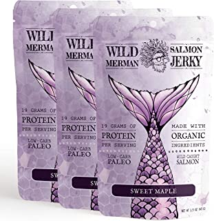 Wild Merman Salmon Jerky - Sweet Maple - Paleo - No Cane Sugar - 100% Wild Caught - Organic (3 bag)