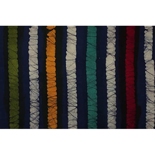 Handicraft-Palace Stripe batic Hand Block Printed Running Natural Vegetable Color Sanganeri Garment Dress Making Cloth Material Fabric by (Blue_2.5 Meter)