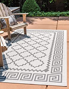 Unique Loom Trellis Collection Greek Key Border Geometric Transitional Indoor and Outdoor Flatweave Area Rug, 2' 2