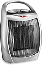 HOME_CHOICE Small Ceramic Space Heater Quiet Electric Portable Heater Fan for Home Dorm Office Desktop and kitchen with Adjustable Thermostat,ETL Listed for Safe Use (Silver)